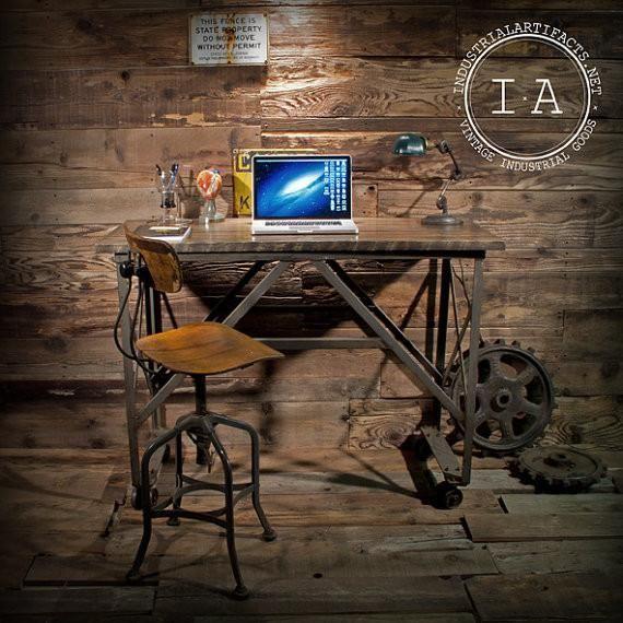 Reclaimed Heartwood Elm Industrial Standing Desk Table