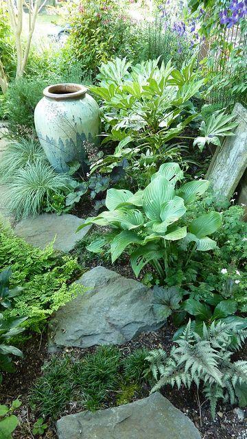 Sehr Schon Funkien Und Andere Tolle Blattpflanzen Garten Garten Landschaftsbau Schattengarten