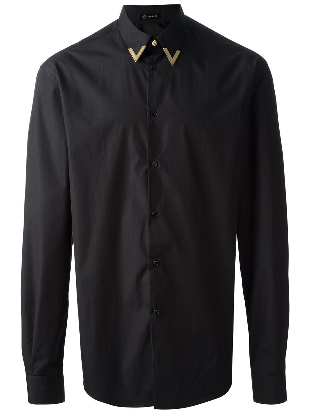 670cfd00 Versace black shirt with gold metal collar tip. | CLOTHING ...