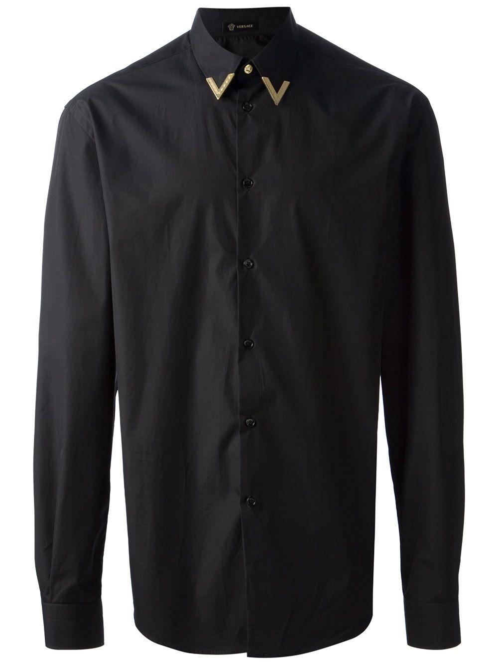 versace black shirt with gold metal collar tip shrts pinterest versace. Black Bedroom Furniture Sets. Home Design Ideas