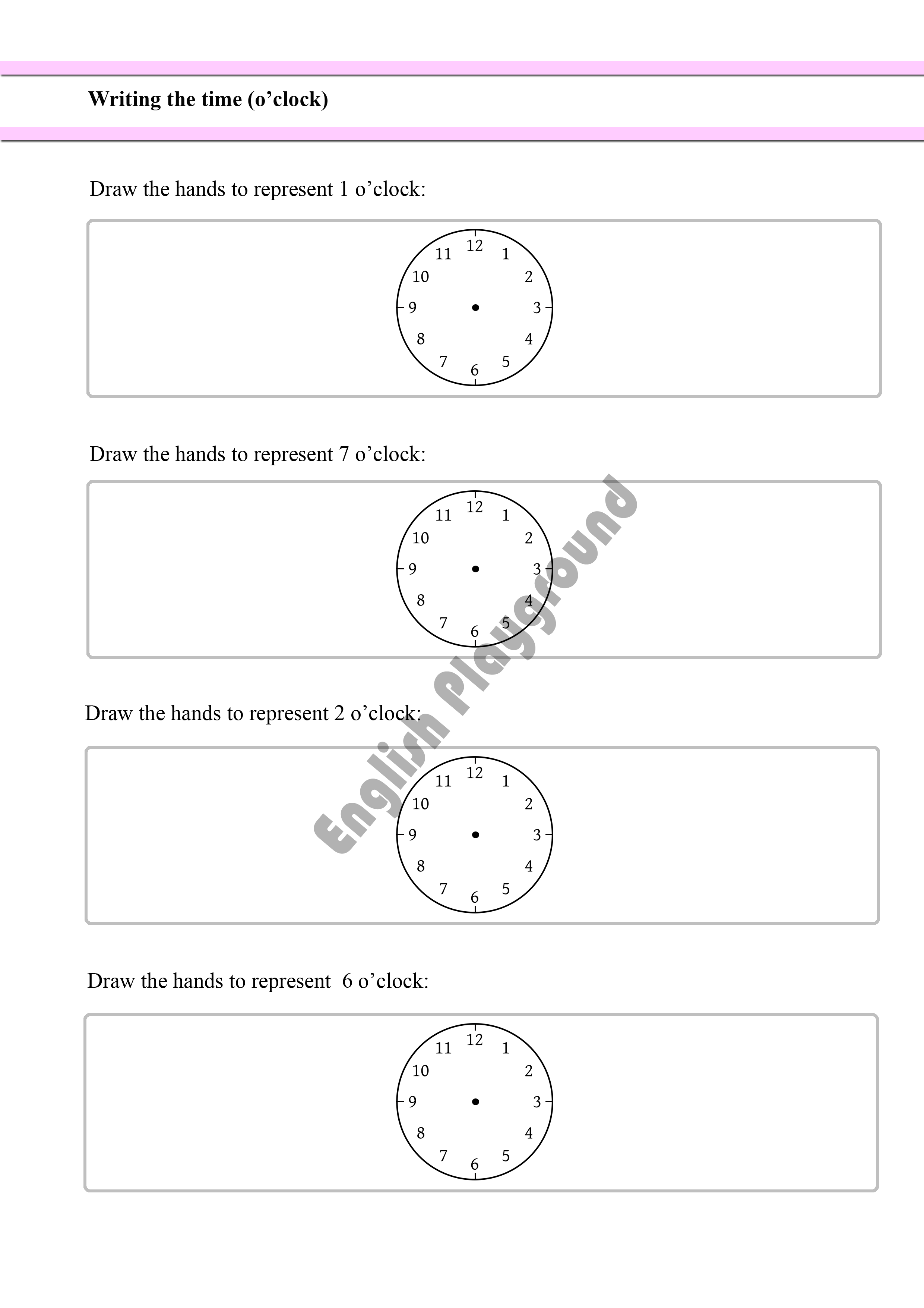Writing The Time O Clock For Year 1 Students