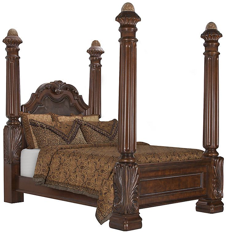 Regal Dark Tone Leather Poster Bed