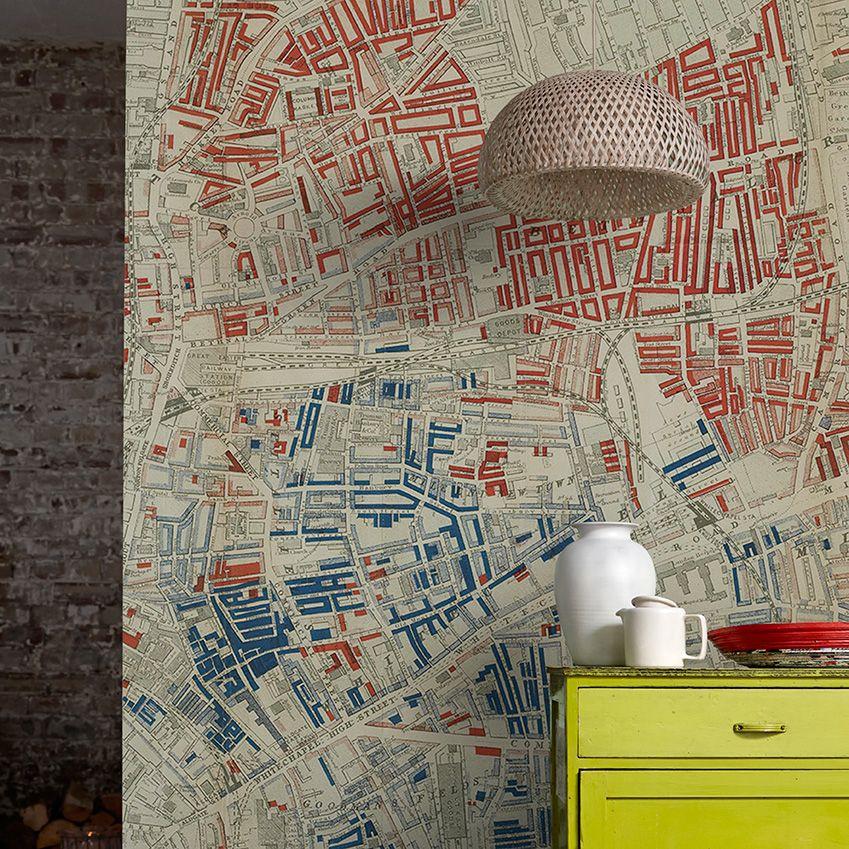 Elle Decoration Uk Victorian Map Wallpaper By Surfaceview Map Wallpaper London Wallpaper Wallpaper