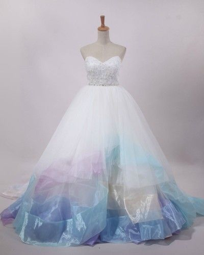 Lazaro 3269 Inspired Wedding Dress Tulle Colored Ballgown Ball