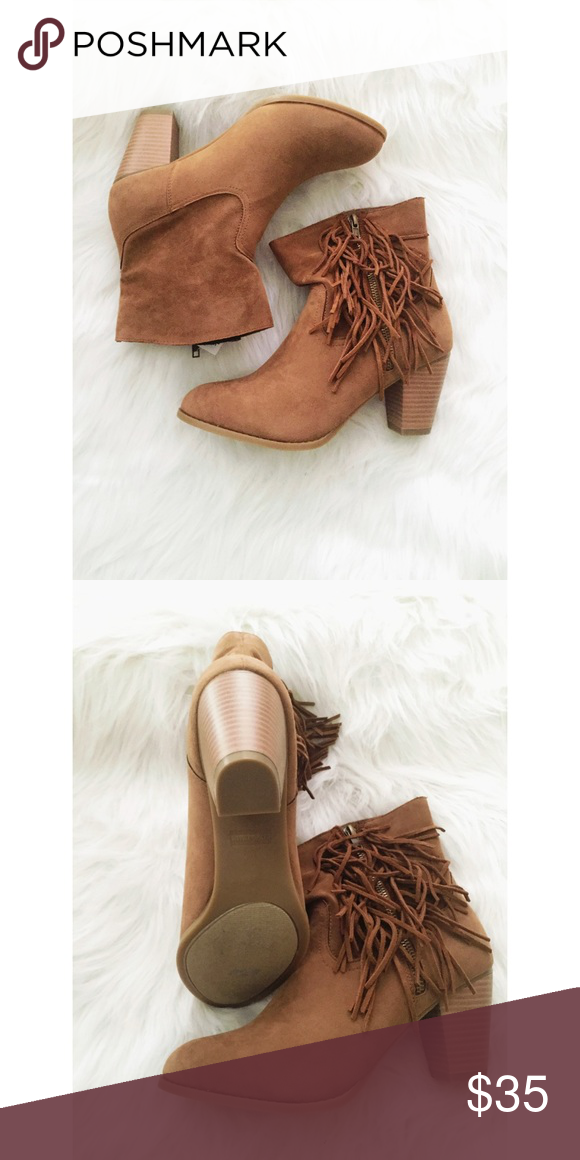 Fringe Booties New in box. Never worn. Faux upper. Rampage Shoes Ankle Boots & Booties