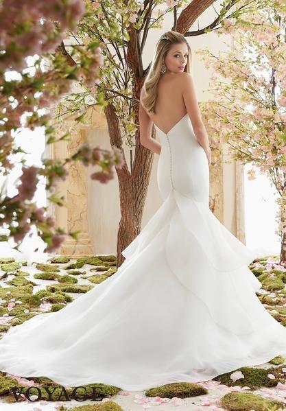168d16e3de08 Voyage by Mori Lee 6837 Strapless Satin Mermaid with Ruffle Skirt Wedding  Dress - Off White Bride