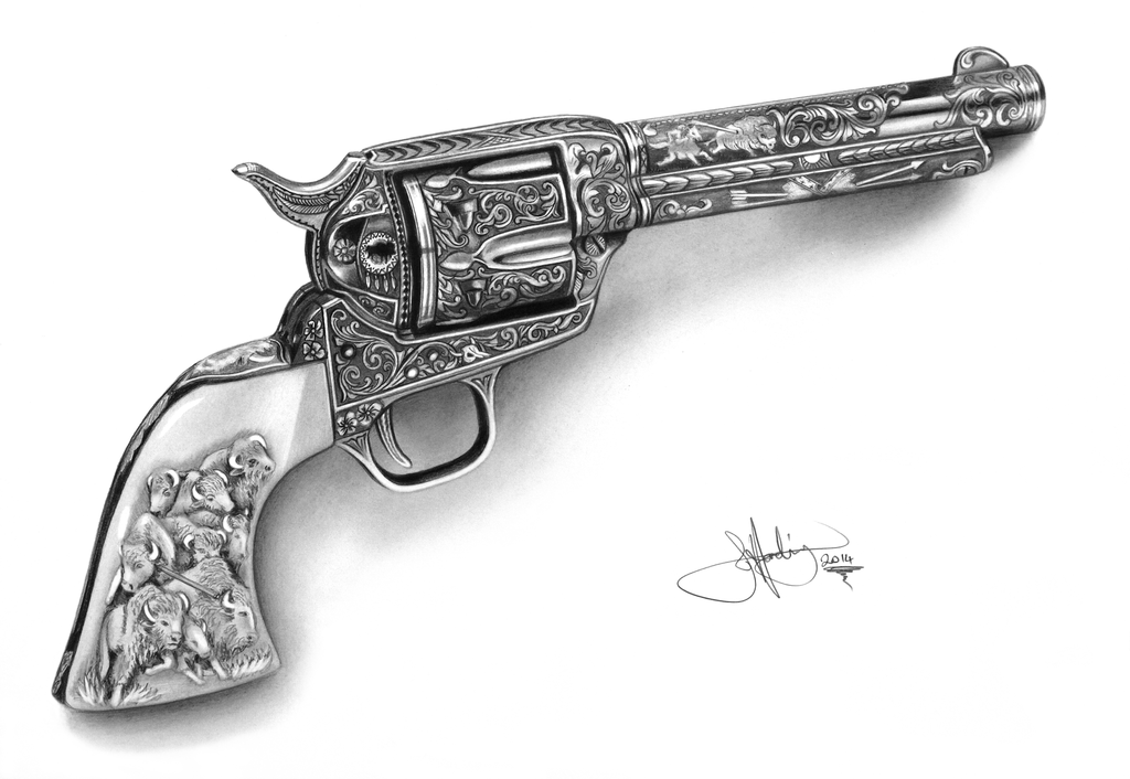 Colt Single Action Army Revolver drawing by WhizzieWhizzer.deviantart.com on @deviantART