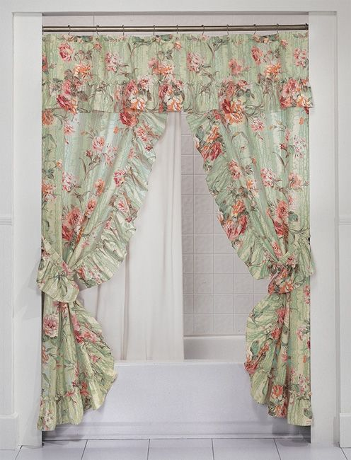 Made Of A Fine Polyester Cotton Blend The English Rose Double Swag Shower Curtain Comes Complete With Vinyl Liner Two Tie Backs And Back Knobs