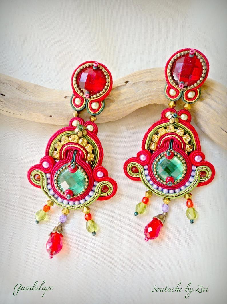 cc5b6f516dab Pendientes Soutache Largos Rojo Dorado Pendientes Flamenca