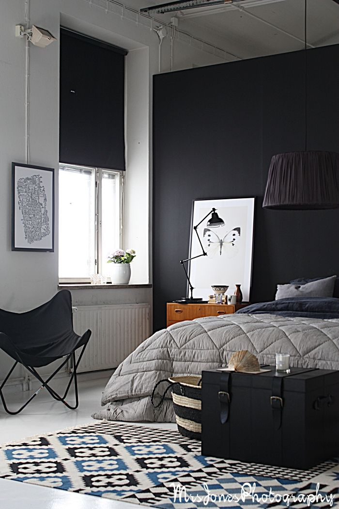 Black Bedroom With Tine K Home Lamp And Butterfly Chair Bedroom
