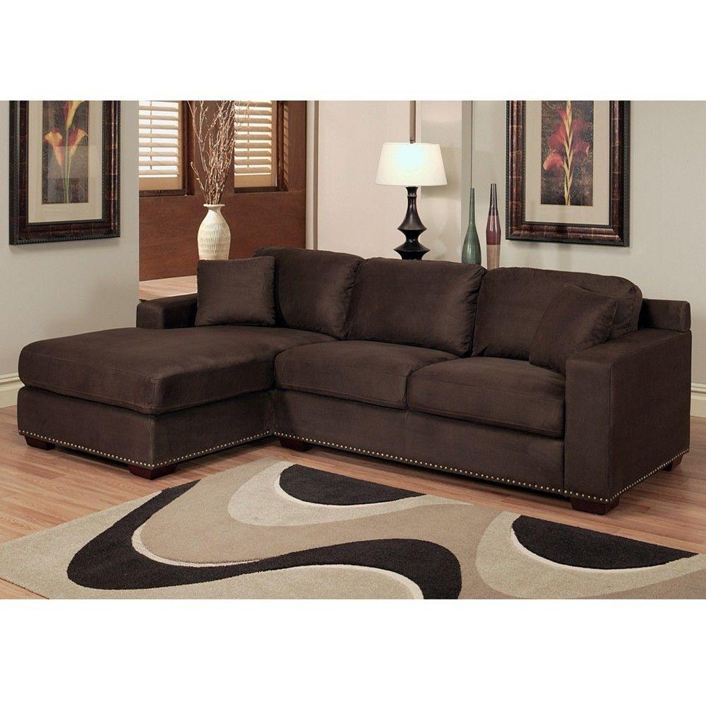 Monrovia Dark Brown Nailhead Trim Microsuede Sectional Sofa | Overstock.com