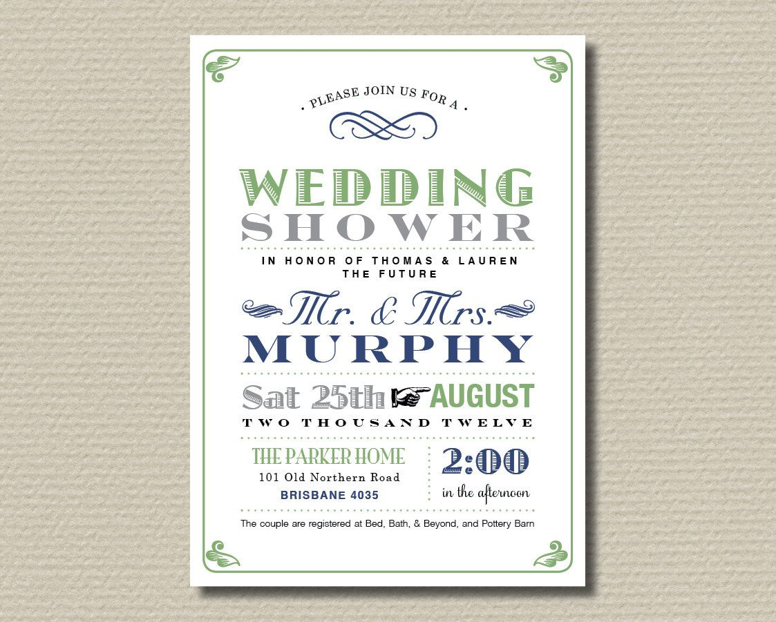Printable CouplesWedding Shower Invitation Poster design in