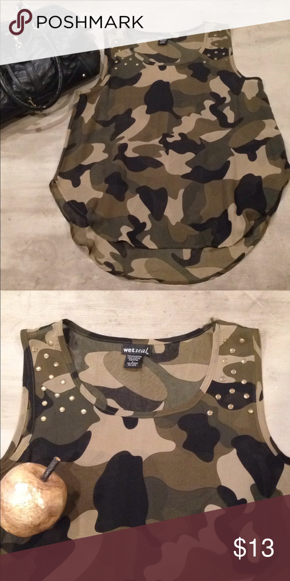 3d1041bc1ca0f Wet Seal Sheer Camo tank top military studded L Sheer camo tank by Wet Seal  gold studded detail Hi-lo hem 100% polyester Like new , work once Wet Seal  Tops ...