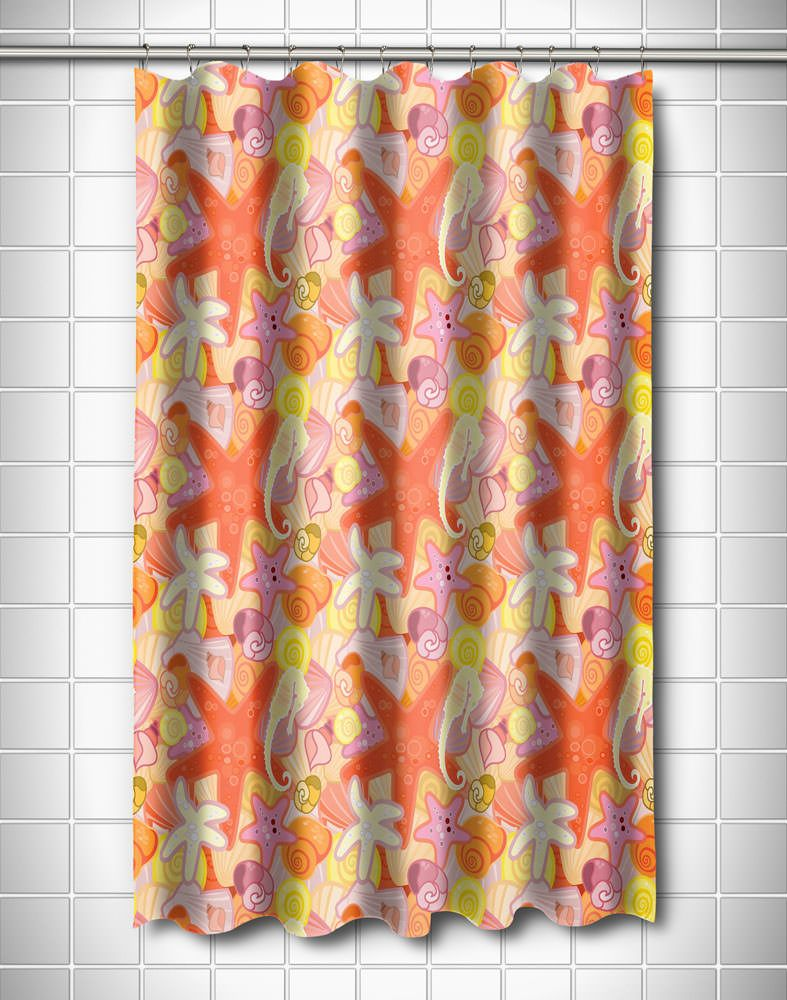 Sea Life Pastel Shower Curtain Tropical Shower Curtains Beach