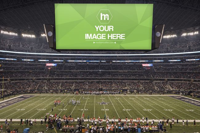 Insert Your Image Into A Large Display On Football Stadium Showcase Your Advertisement Idea Or Promote And Ad Idea Or Message O Big Screen Sports Arena Screen