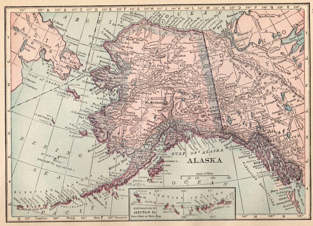 1913 antique alaska map vintage map of alaska gallery wall art smap 4314