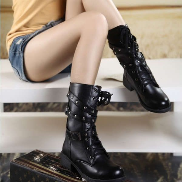 Black Martin Rivet Lace Up Women Short Boots @ http://bit.ly/1shtRAe