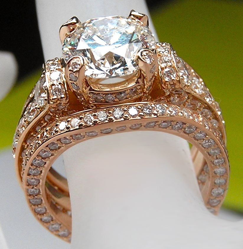 Large Cathedral Graduated Pave Engagement Ring And Matching Wedding Ring Rose Go Wedding Rings Rose Gold Wedding Rings Vintage Diamond Engagement Rings Vintage