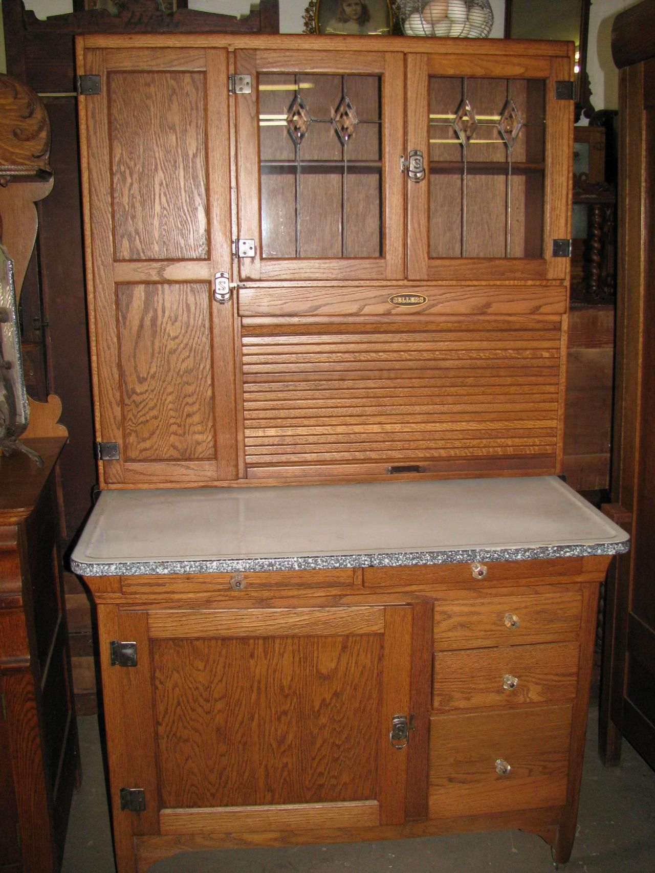Sellers Kitchen/Bakers Cabinet Circa 1917-1920 w/ leaded glass windows w/ - Sellers Kitchen/Bakers Cabinet Circa 1917-1920 W/ Leaded Glass