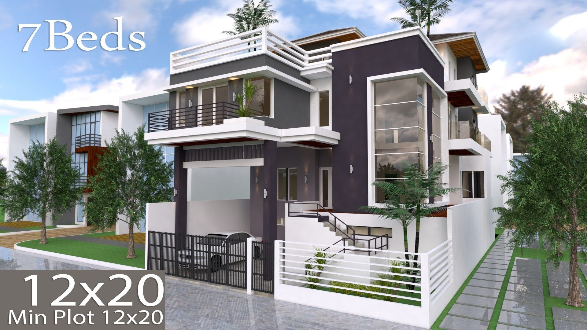 7 Bedrooms Modern Home Design Plan 12mx20m Samphoas Com Architectural House Plans House Plans Home Design Plan