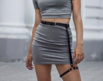Correa de cuero de la liga liguero ropa exótica Clubwear