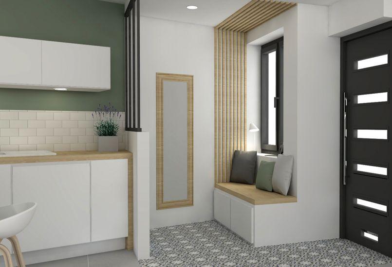 Porte noire vitr e moderne miroir banquette bois others pinterest maison interieur - Porte noire interieur ...