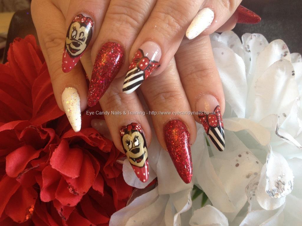 Stiletto nails with Disney nail art (mini mouse) | Nueva nails ...