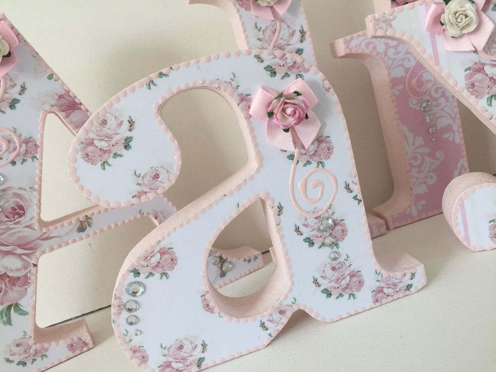 Shabby Chic Pink Roses Decorated Wooden Letters Personalised Free