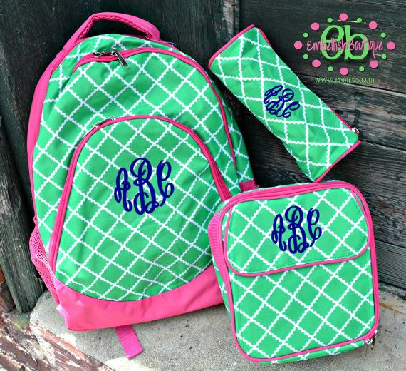 SALE - MONOGRAMMED Lime/Pink Academy School Backpack Bookbag ...