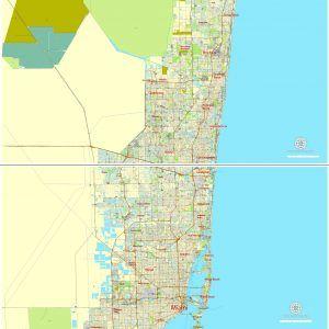 PDF Printable Map Greater Miami Florida US Exact Vector Street - Miami on us map
