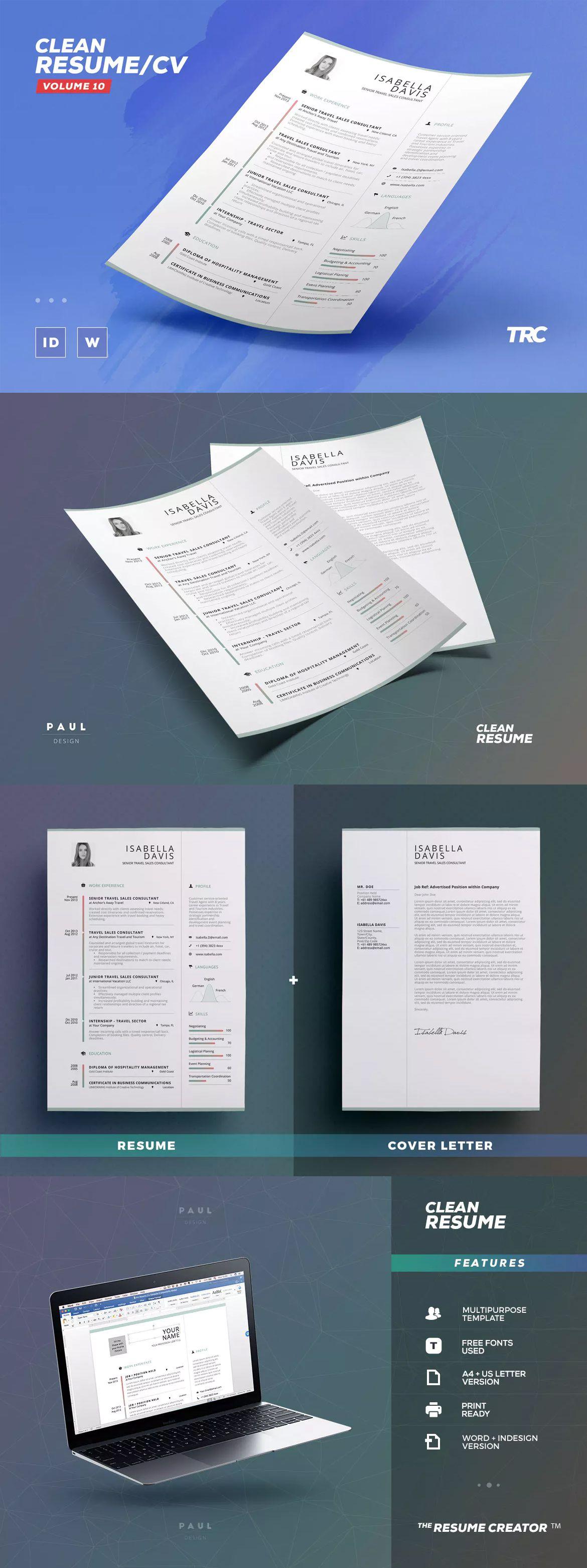 Resume Text Size Clean Resume  Cv Template Indesign Indd  A4 And Us Letter Size .