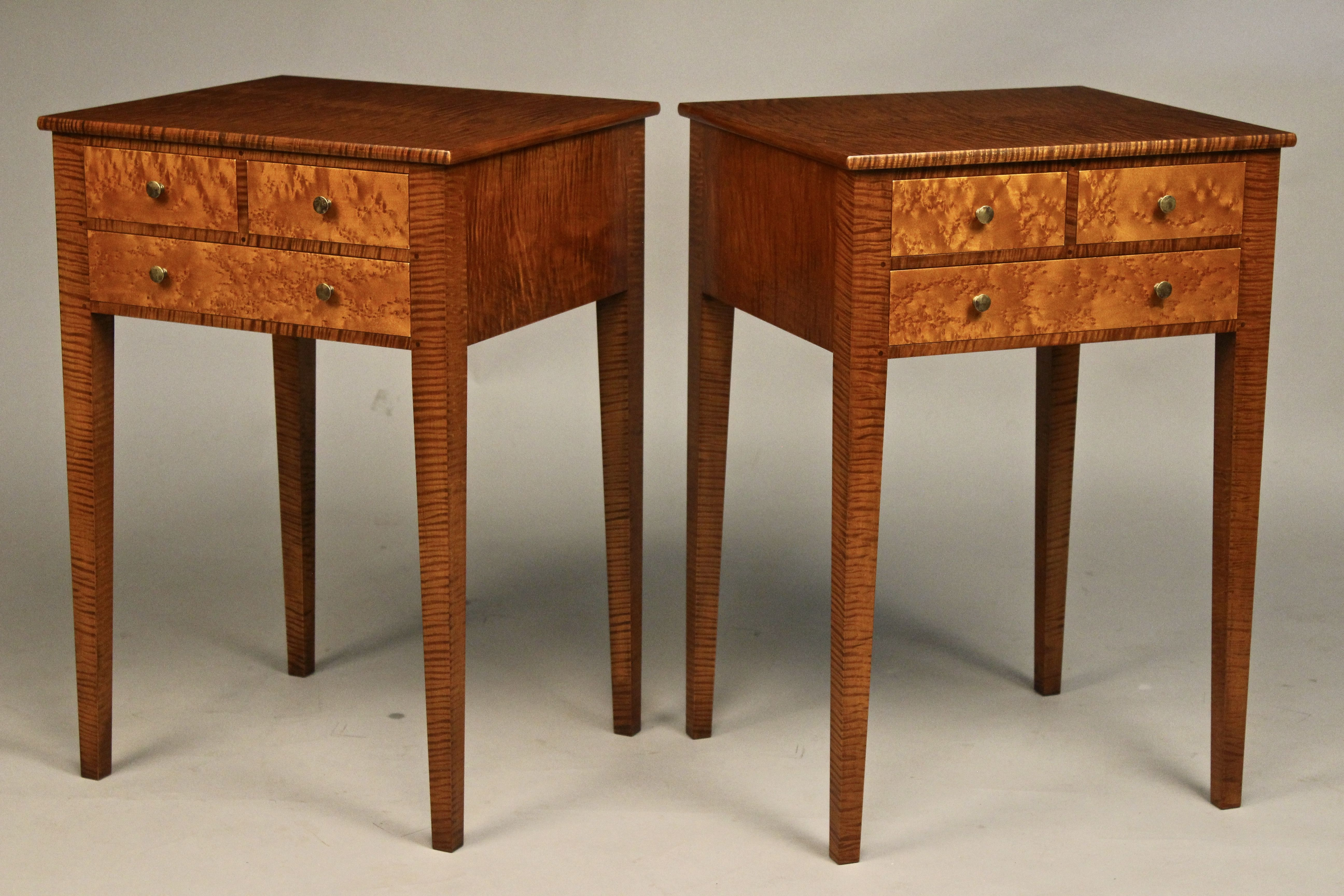 Tiger Maple And Birdseye Maple Nightstands New England Furniture