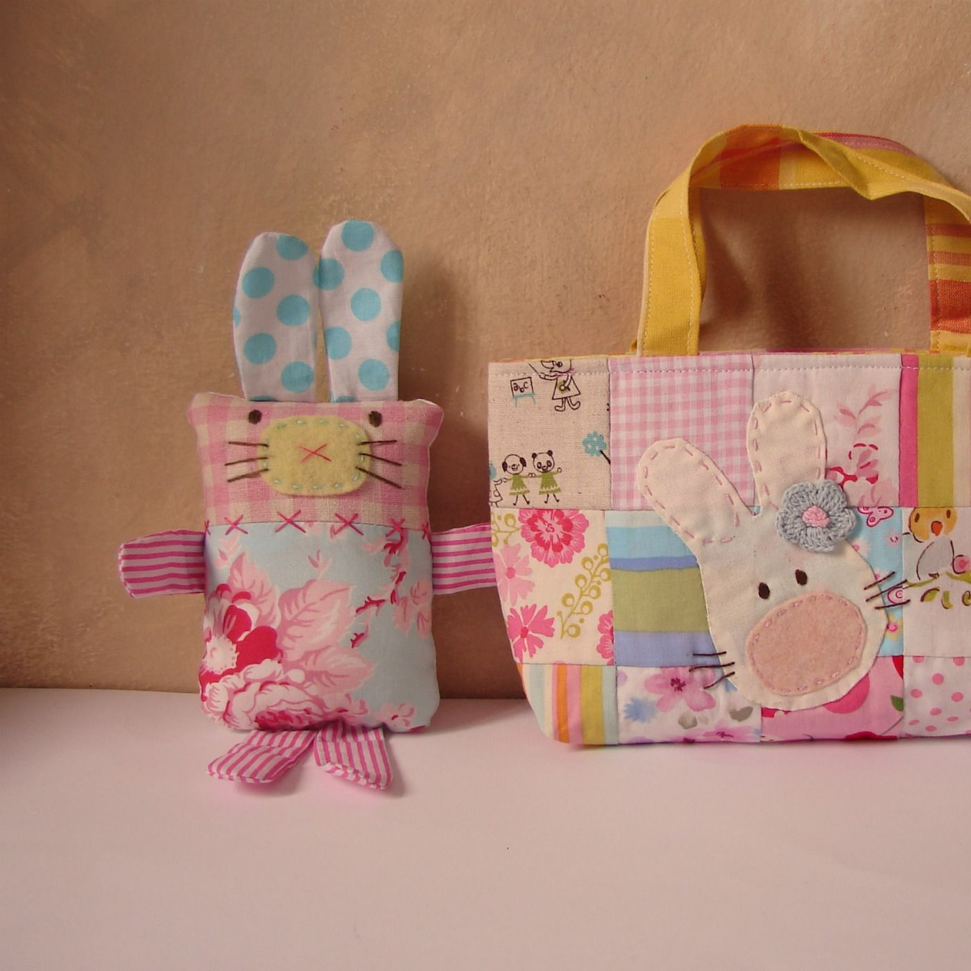 I finsihed a couple of bunnys yesterday just for the girls! One I sold as a set with a bag very sweet Easter present.