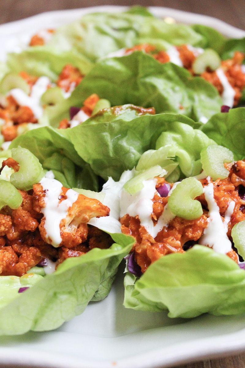 Buffalo Cauliflower Lettuce Wraps