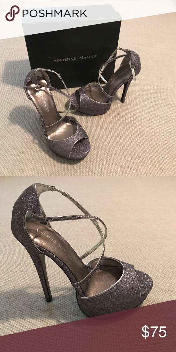 delicate colors timeless design special for shoe Adrienne Maloof platform stilettos Brand new in box pewter glitter ...