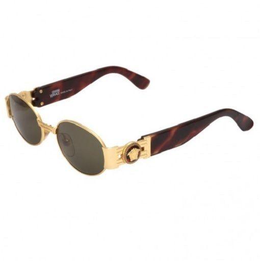 Versace Sunglasses (Women s Pre-owned Vintage Oval Tortoise   Gold Logo Sun  Glasses) 69636e1b87d9