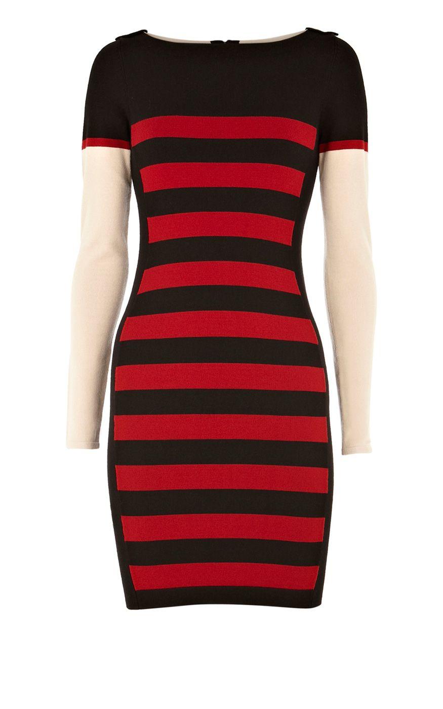 Karen Millen Block stripe Knit Dress Black and red ,fashion Karen Millen Multicolor Dresses outlet