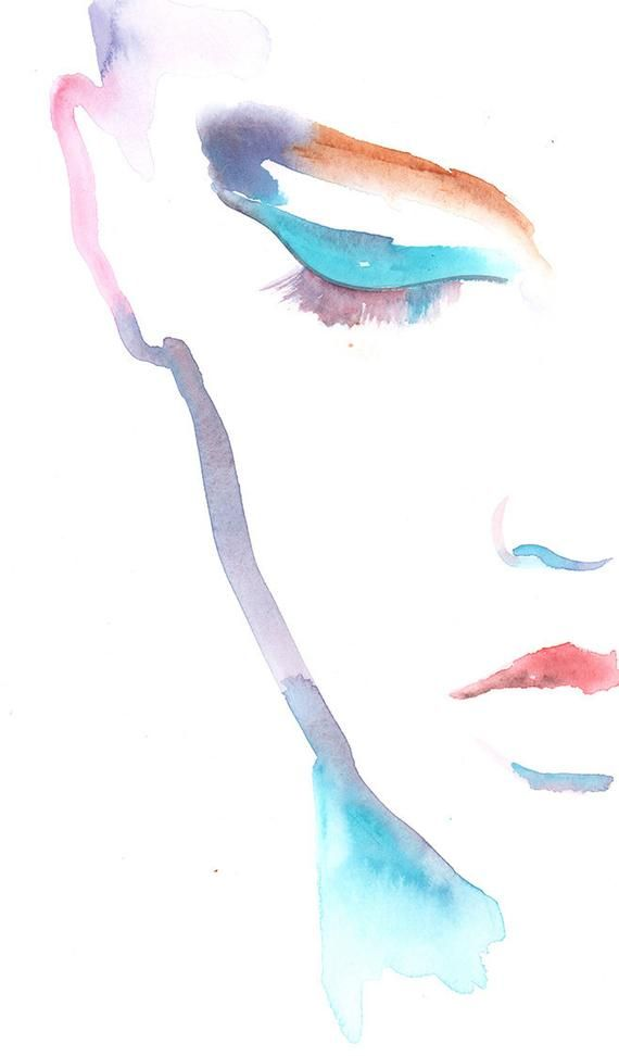 Photo of Items similar to cosmetic watercolor print, fashion illustration, watercolor fashion illustration, fashion poster, fashion, art, eyeliner, on etsy