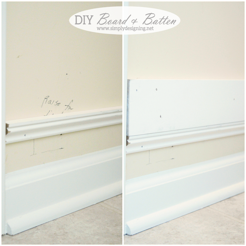 Diy Board And Batten Without Removing Your Baseboards Simply Designing With Ashley Wall Paneling Diy Batten Diy Board And Batten