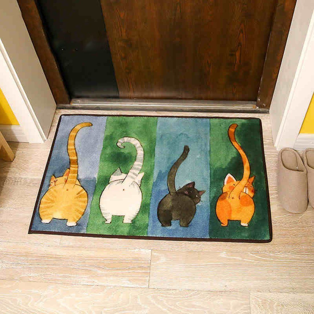 ONEONEY Simple Cute Cat Livingroom Rugs Home Essentials Door Mat Bedroom  Rugs Bedside Area Rug Creative Foot Mats Non Slip Floor Rugs Carpet (Multi  ...