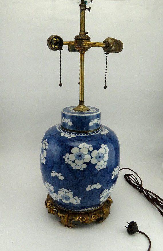 Antique Japanese Chinese Porcelain Ginger Jar Urn Converted 3