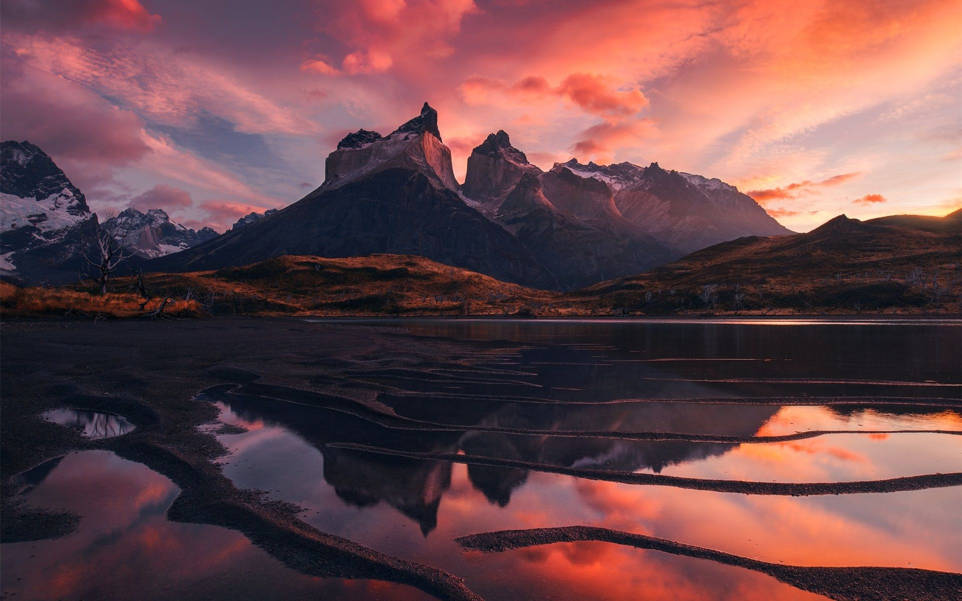 Patagonia Beautiful Landscape Mountains Lake Red Sky Clouds Sunset 1080p Wallpaper Jpg 1920 1200 Sunset Wallpaper Beautiful Landscapes Mountain Sunset