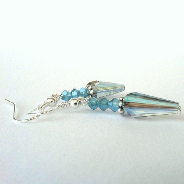 Blue crystal earrings by  Beadstorm Jewellery