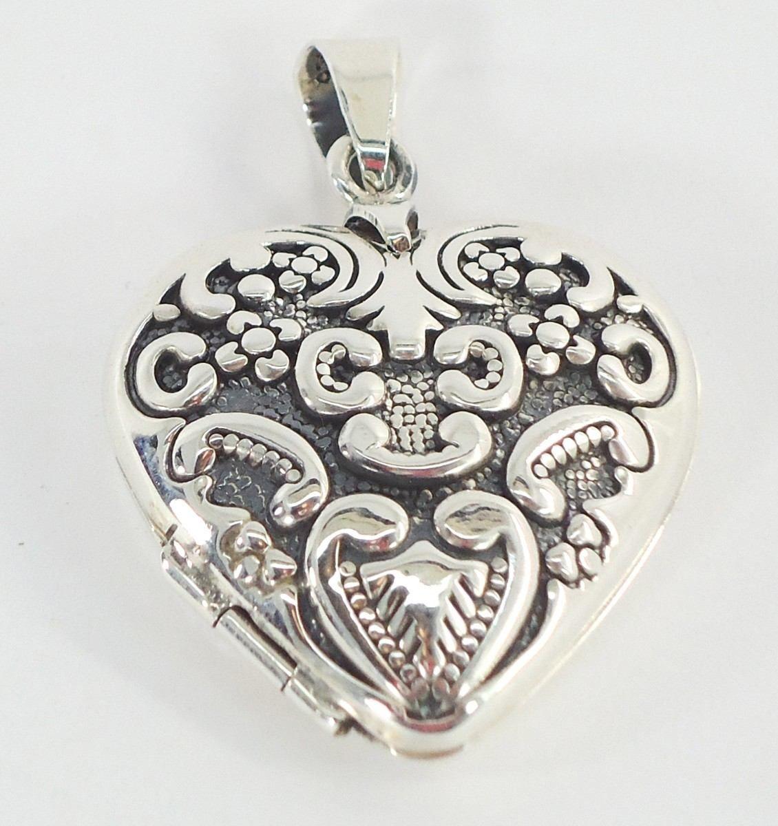Dije De Plata Corazón Antiguo Relicario Guardapelo  7bbb425dcfc
