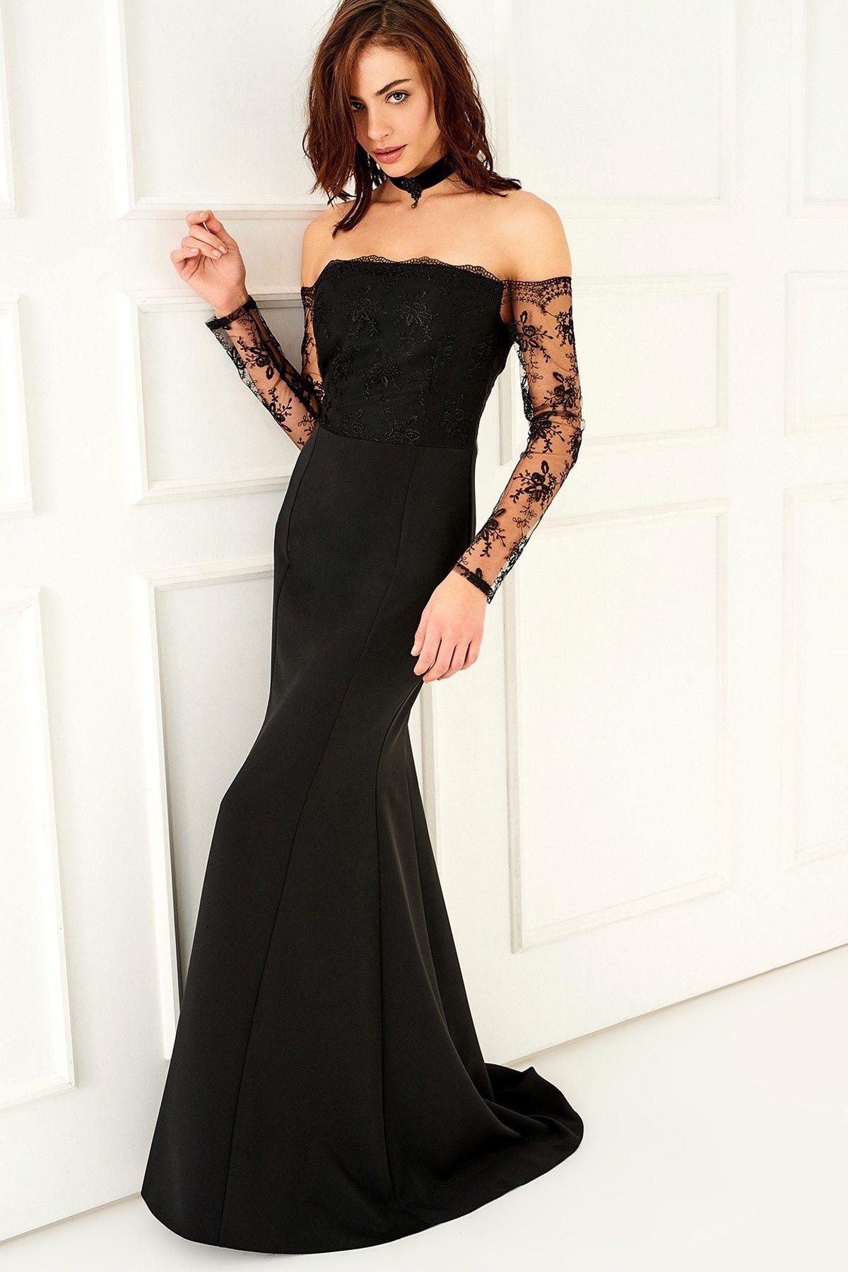 Siyah Carmen Yaka Elbise Trendyolmilla Trendyol Moda Stilleri Elbise Modelleri Elbise