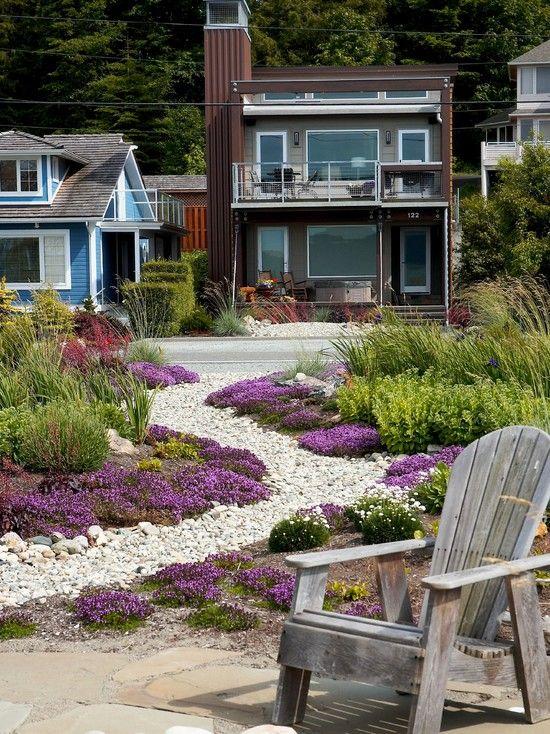 curved path white river stones design ideas beach style landscape ...