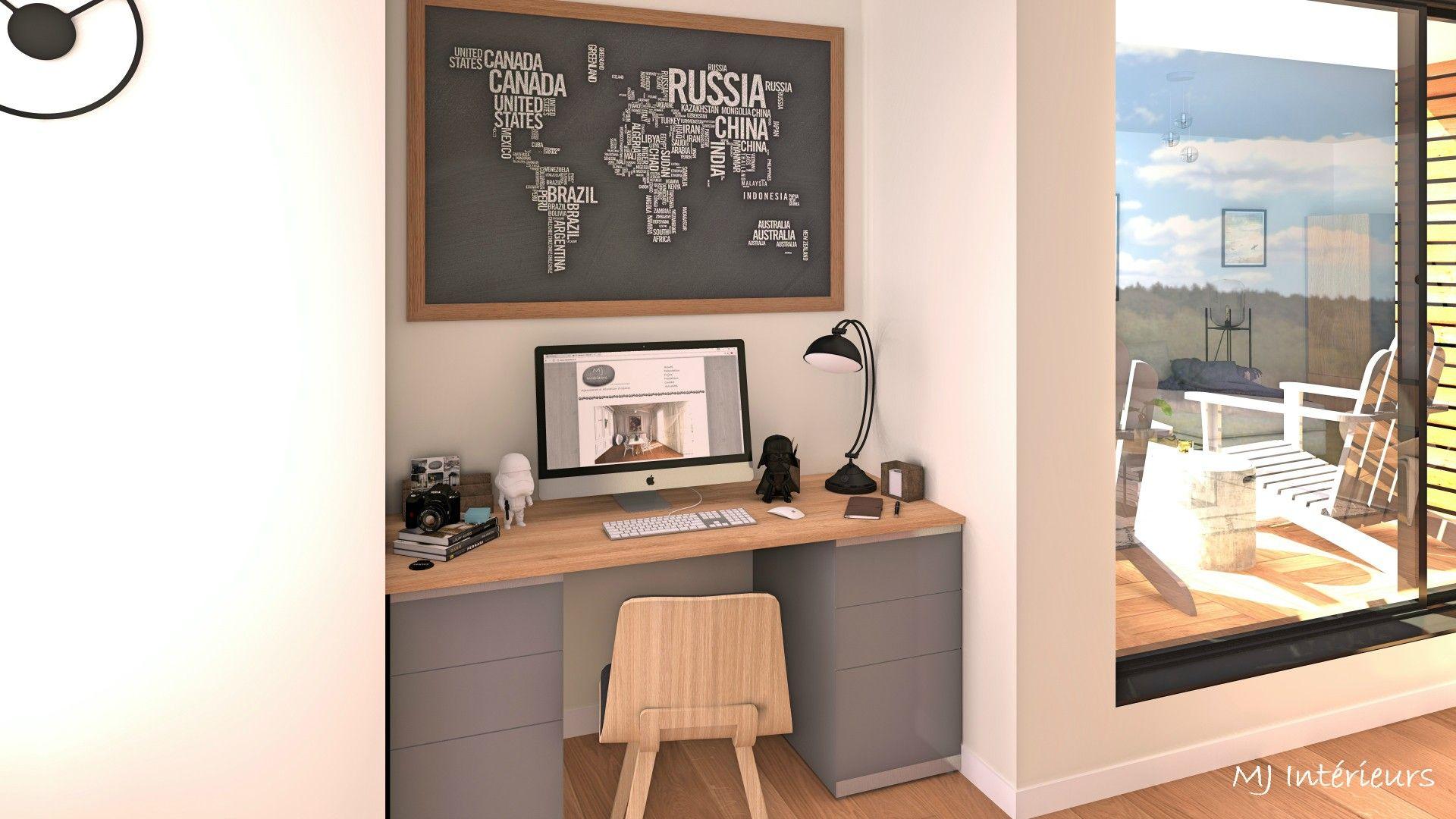 Coin bureau sur mesure gris et chêne chaise alki réalisations
