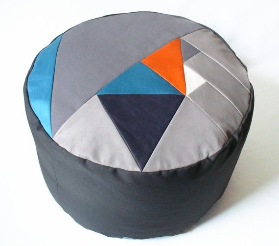 Pi geometric patchwork pouffe. by FunMakesGood on Etsy  The Pi range of geometric patchwork pouffes in leather and hand dyed cotton satin.  Pi.i contains a removable bean bag liner that can be topped up in future with polystyrene beans.  50cm x 50cm x 30 cm as it is a handmade product, dimensions may vary slightly.  Unique and hand made in Scotland.
