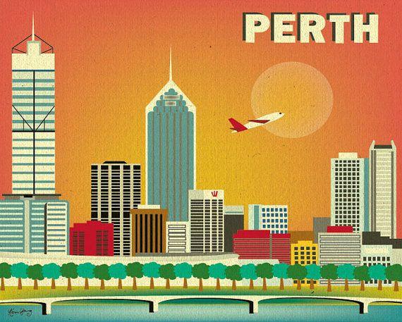 Perth Skyline Print Wall Art, Perth Poster, Perth map, Australia Art ...