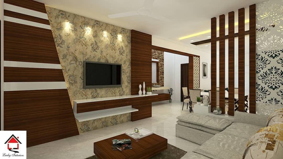 Classy Wood Partition And Tv Unit Designed With Excellence For Your Living Room Interiors Follow Hall Interior Design Modern Tv Wall Units Tv Room Design
